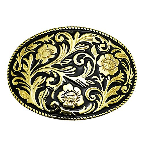 LAXPICOL Western Cowboy Pattern Flower Leaf Belt Buckle For Men Gold Tone Black Enamel