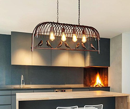 Loft Industrial Retro Metal 7 Birds Pendant Light 4 Bases Ceiling Lamp Chandeliers (Big 4 Light Pendant)