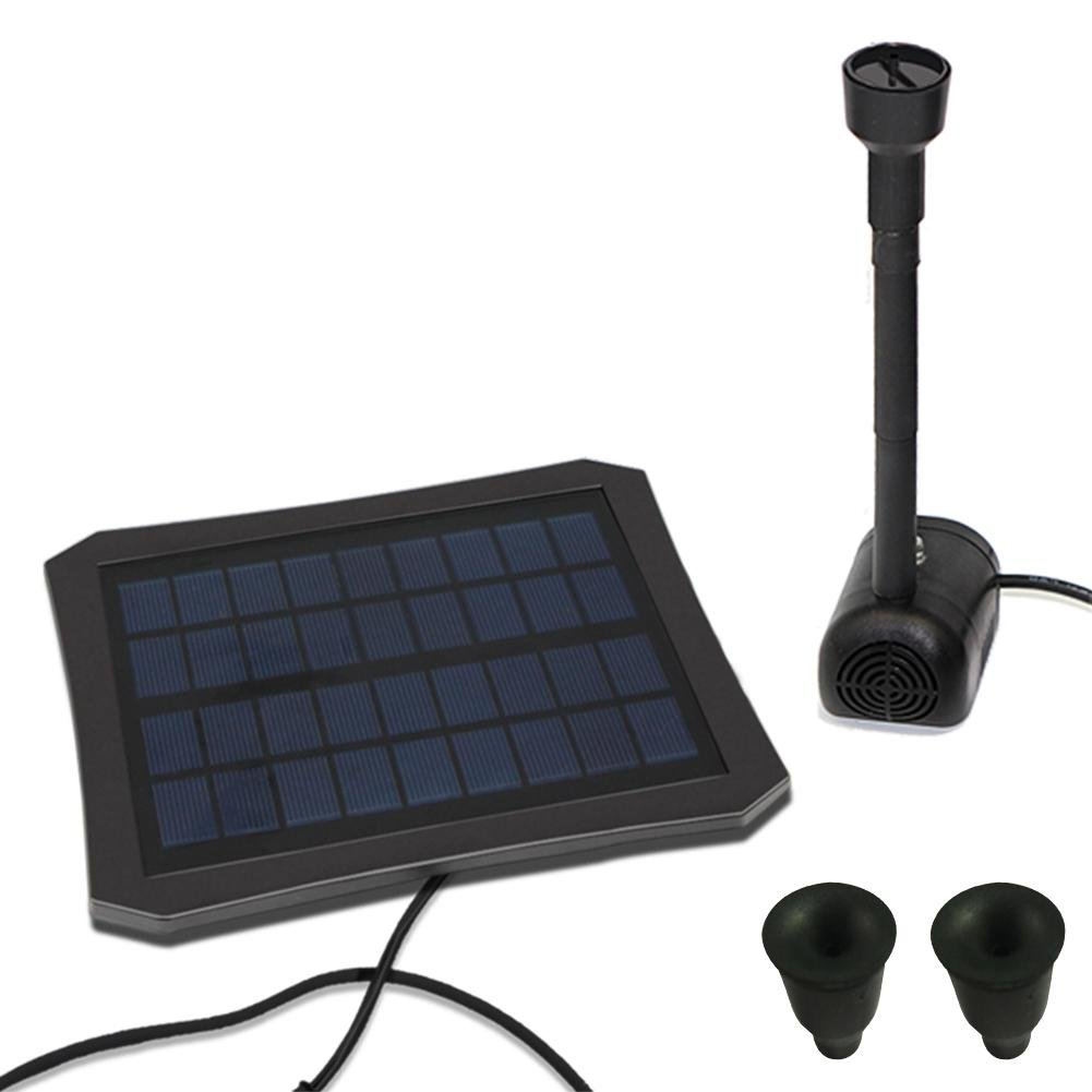 Solar Power Fountain, RC-608Colorful LED Outdoor Solar Water Pump with 2 Nozzles Water Panel Kit for Bird Bath, Small Pond, Garden and Lawn