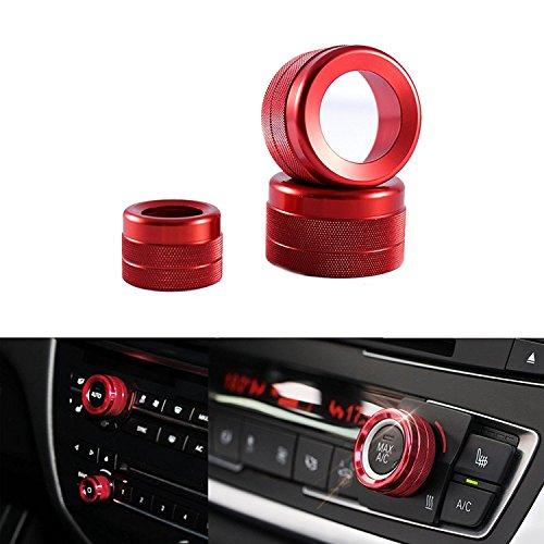 3x AC Climate Control Radio Volume Knob Red Ring Covers Trim for BMW X5 X6 F15 F16