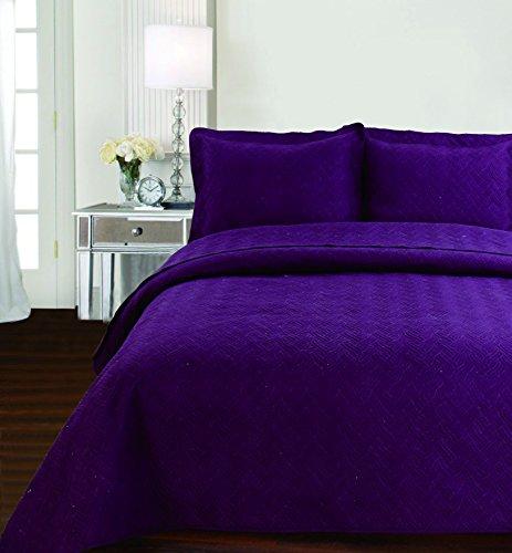 Chanasya Designer Beautiful Thread Embriodary Elegent Curve Embossed Quilted Pattern 3-Piece Bedspread Coverlet Set- QUEEN- Aubergine