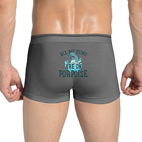 Ngyangquer Puns Are On Porpoise Men's Ultra Soft Cotton Underwear Trunks XL Ash
