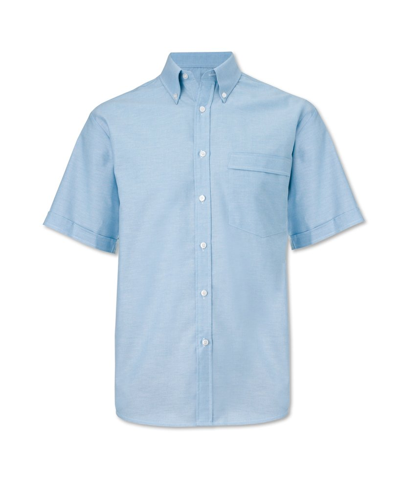 Size: 16.5 Pale Blue Plain 70/% Cotton//30/% Polyester Alexandra STC-NG6BL-16.5 Mens Oxford Short Sleeved Shirt