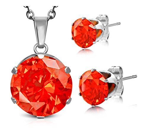 Best Wing Jewelry Stainless Steel Birthstone Round Circle CZ Prong-Set Pendant Charm Chain Necklace & Stud Earrings (Orange Hyacinth)