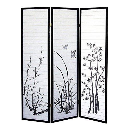 Hongville Shoji Paper Screen Design Privacy Room Divider, 3 Panel, Floral - Shoji Multi Panel