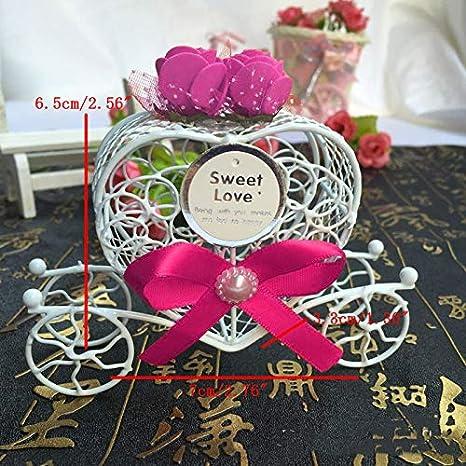 ZJL220 Cenicienta Carro Caramelo Cajas de Chocolate Cumplea/ños Banquete de Boda Favor de 5 Piezas Rosa