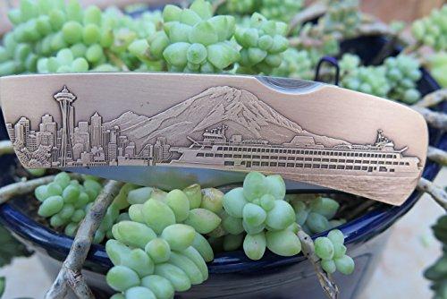 Brass Blade Custom Antique (DKC-1203-B Seattle Pocket Folding Knife Custom Engraved Minted In Antique Brass 4.5 oz 6.75