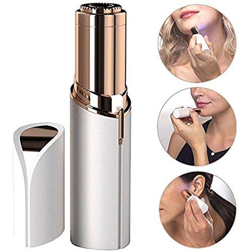 SYlive Mini Razor Makeup Tool Electric Hair Removal Lip Epilator for Women Facial Underarm Bikini Body Depilador - Instant Pain Safety Epilator (White)