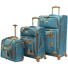 """Steve Madden Luggage 3 Piece Softside Spinner Suitcase Set Collection (20""""/28""""/Under Seat Bag) (Harlo Teal Blue)"""
