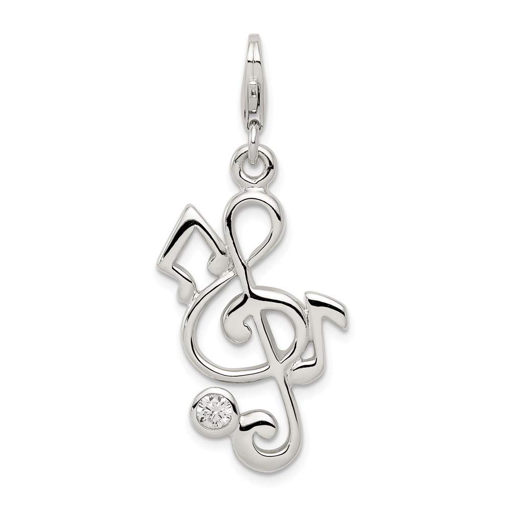 FB Jewels Solid 925 Sterling Silver Treble Clef And Cubic Zirconia CZ Charm