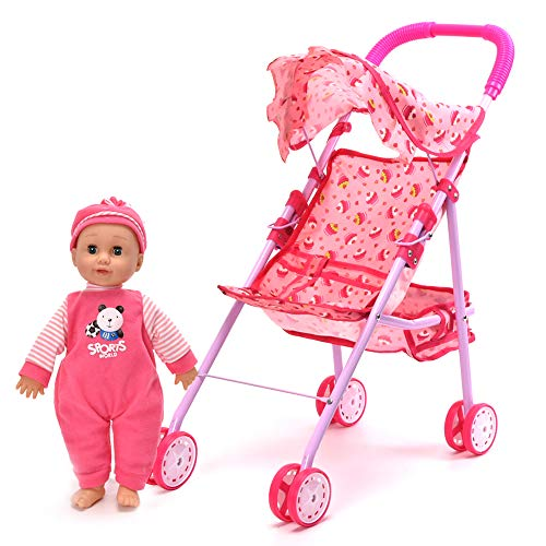 WonderPlay Baby Doll Stroller with Doll, with Basket and Adjustable Hood for Girls Aging 3 Years Old