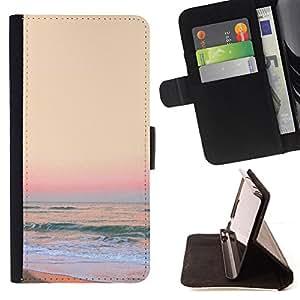 BullDog Case - FOR/Samsung Galaxy S5 V SM-G900 / - / sunset sand beach yellow waves surf /- Monedero de cuero de la PU Llevar cubierta de la caja con el ID Credit Card Slots Flip funda de cuer
