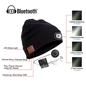 5bba5ce0132 Bluetooth Beanie Hat with LED Headlight USB Rechargeable Wireless ...