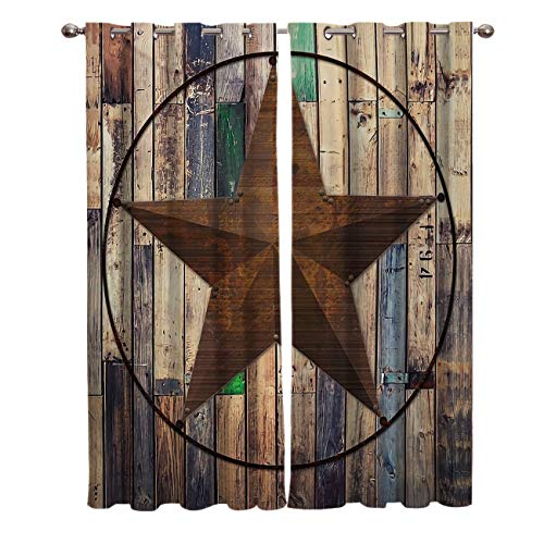 """T&H Home Artistic Curtains, Blackout Curtain Silver Grommet Rustic Vintage Texas Star Barn Wooden Patterned Fabric 2 Panels Set, Darkening Draperies & Curtains for Living Room Bedroom 104"""" W by 84"""" L"""