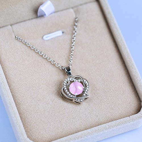 - WOkismx New Necklace Female Exquisite Heart-Printing Moonstone Zircon Pendant Gold-Plated Simple Temperament Clavicle Chain Fashion Wild Jewelry Gift,Pink