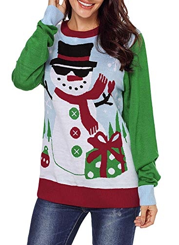 Women Sweater Ugly Christmas Sweaters Women's Cute Reindeer Pullover Snowflakes Xmas Cardigan Holiday Sweater