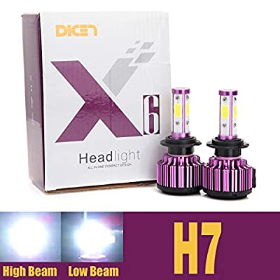 H7 Car LED Headlight Bulbs 20000LM 6000K Cool White Replace High Beam or Low Beam 4 Sides COB Chips High Brightness Conversion Kit - Pair - 2 Year Warranty