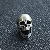 Glintbay Handmade Sterling Silver Skull Bead Motorcycle Heavy Locomotive Punk Pendant (Polished-M)