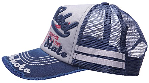Etiqueta 100 MINAKOLIFE Béisbol Camionero Algodón de Afligido Snapback Vendimia Hombre Azul Gorro Negro malla wHqgxaw
