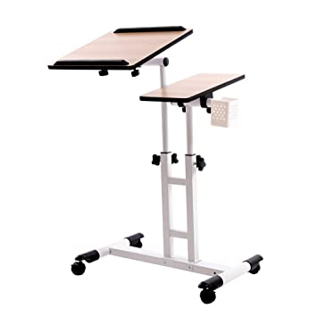 Adjustable Height Rolling Laptop Desk Table Cart,Computer Desk,Over Sofa  Bed Table For