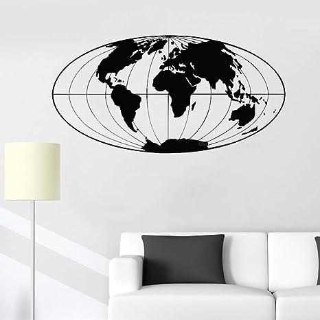 JXTK Carte Du Monde Sticker Mural Décor De Bureau Planète ...