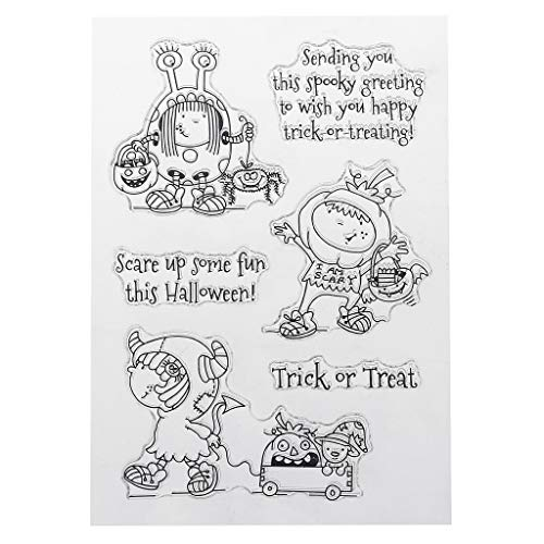 SprinZ PVC Stamp Seal Halloween Cute Monster Girl Patterns DIY Scrapbook Photo Album Card Diary Decor English Letters,Perfect for DIY Greeting Card Notebook Invitation Card -