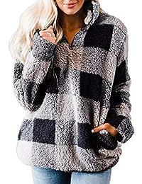 Women's Plaid Long Sleeve Zipper Sherpa Fleece Sweatshirt Pullover Jacket Coat with Pockets