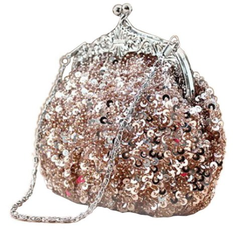 (Chicastic Fully Sequined Mesh Beaded Antique Style Formal Cocktail Clutch - Rose Gold)