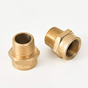 "GESHATEN 1/2"" G Thread (BSP) Female to 1/2"" NPT Male Connector, Brass BSP to NPT Adapter 1/2 Inch, Industrial Metal Brass G Thread to Pipe Fittings Connect (2 Pack)"