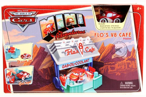 Disney Pixar Cars Mini Adventures Flo's V8 Cafe Playset with Lightning McQueen Vehicle