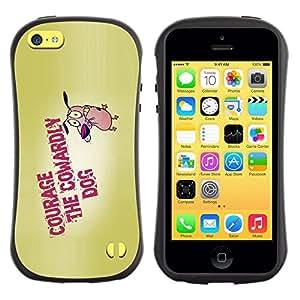 LASTONE PHONE CASE / Suave Silicona Caso Carcasa de Caucho Funda para Apple Iphone 5C / Courage Dog Bravery Cartoon Quote Motivation