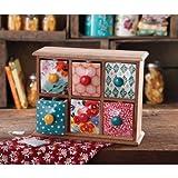 Flea Market 6-Drawer Wood Spice/Tea Box, Multicolor