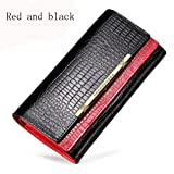 SLR Ms. Large-capacity long storage purse double hit color holding 3 fold wallet,Red and black,3 fold