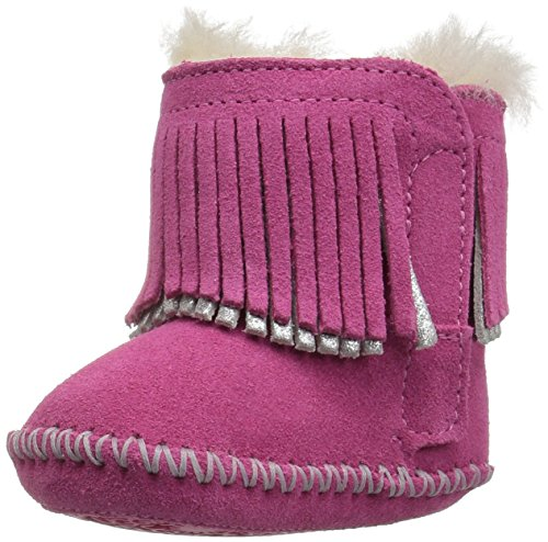 UGG Girls I BRANYON Fringe Boot, Pink Azalea/Metallic, 2/3 M US Infant