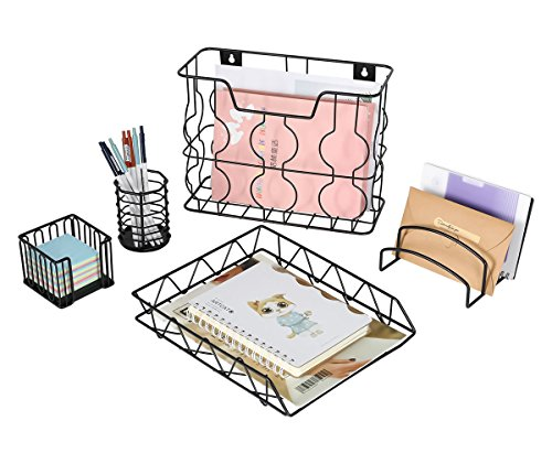 PAG Office Supplies 5 in 1 Metal Desk Organizer Set - Hanging File Organizer, File Tray, Letter Sorter, Pencil Holder and Stick Note -