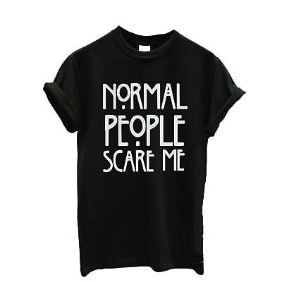 """Femme T-shirt, Reaso """"Normal people scare me"""" Manche Courte Décontractée Hauts"""