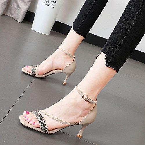 con cuadrícula Shoes color con mujer la palabra toe Qiqi deletrear con de para multa zapatos mujer Heel 39 Xue sandalia Dew beige alta marea q7t8Oz