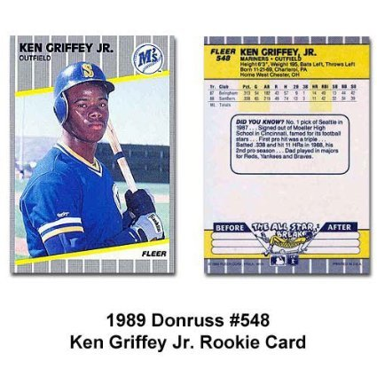 1989 Fleer Ken Griffey Jr #548 Seattle Mariners Rookie Baseball Card