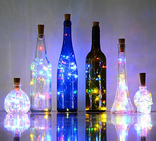 Set of 6 Multi-color Wine Bottle Cork Lights Copper wire String Lights, AnSaw 20LEDs Starry Light for Bottle DIY Party Décor