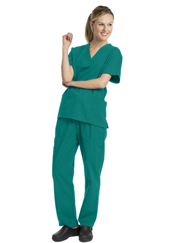 Elaine Karen Deluxe 4pk Medical Scrubs for Women Nurse Uniform Set Solid V-Neck, Green, Large