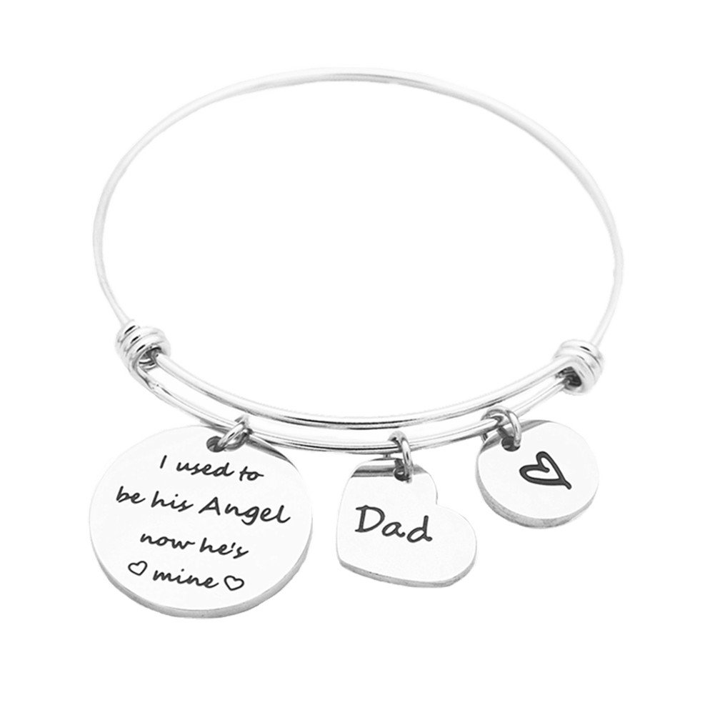 ODLADM Memorial Bangle I Used To Be His Angel Now He's Mine Fathers Day Gift from Daughter (Memorial Dad)