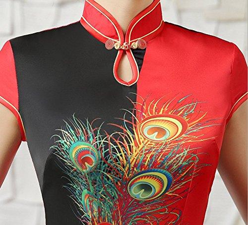 Cinese Del Qipao Vestito In Forma Maxi Cheongsam Convenzionale Signore Donne Manica Delle Nozze Lato Corta Xuexian Fessura qvRtXw
