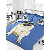 PUG IN SUNGLASSES USA QUEEN (230CM X 220CM - UK KING SIZE) BLUE REVERSIBLE PAW PRINTS COTTON BLEND COMFORTER COVER SET