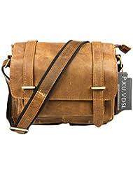 P.KU.VDSL Messenger Shoulder Bag Genuine Retro Crazy Horsehide Leather Briefcase Business Bags For Women or Men...