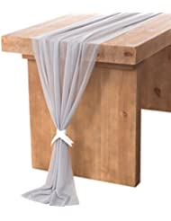 Lingu0027s Moment Blue Gray Sheer Table Runner 32 X 120 Inches For Rustic  Romantic Bohemian Wedding