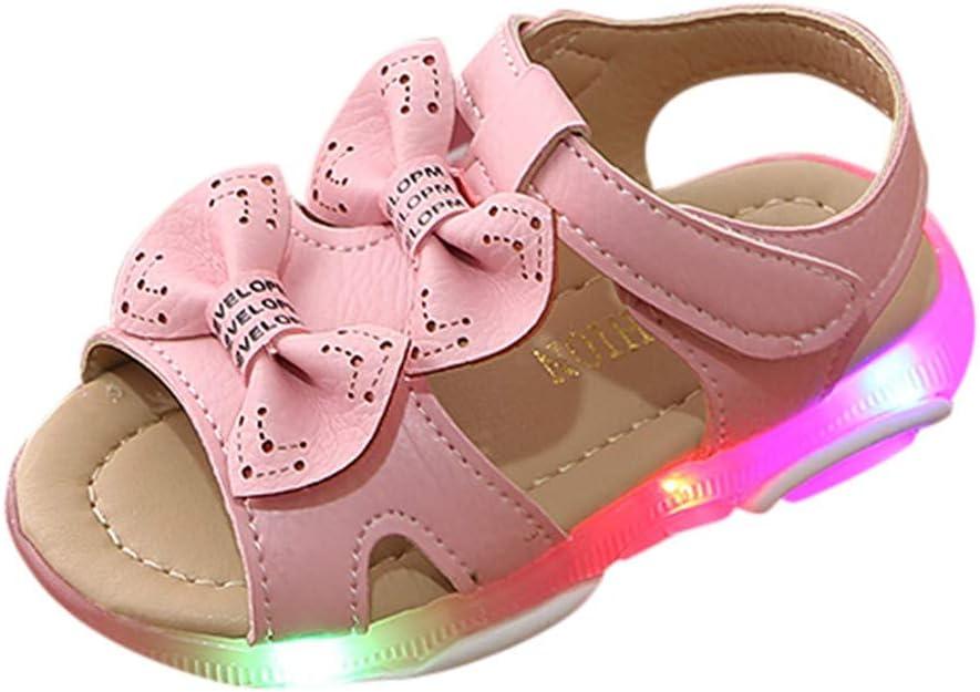 Kolylong 2019 Et/é Enfants Lumi/ère LED Chaussures de Princesse Simples Bowknot Lumineux Plage Sandale Fond Souple Sandales B/éb/é Fille Princesse
