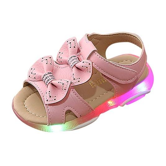 Lucky Mall Mädchen Bogen Offene Zehen Sandalen mit LED-Licht, Kinder Schlüpfen Sandalen Party Schuhe Mode Tanzschuhe Sommer F