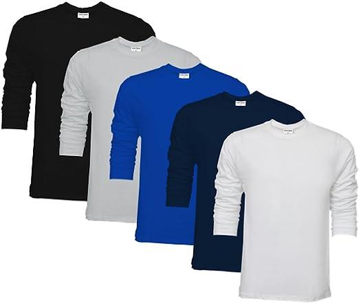 TALLA S. Raftaar® - Camisetas para hombre (5 unidades, 100% algodón, cuello redondo)
