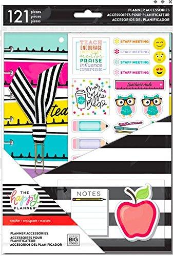 Create 365 Classic Happy Planner Teacher Accessory Pack, 121 Pieces, Teacher Planner Accessories