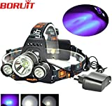 Boruit 5000LM 3 LED XML T6 +R5 UV Purple LED Headlamp Headlight 3 Mode Head Lamp linterna frontal for Bicycle Hunting